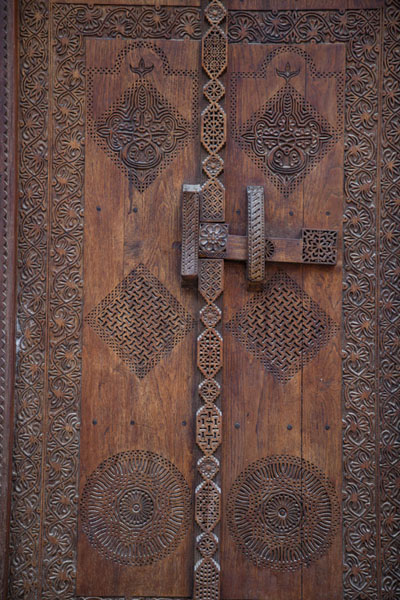 Picture of Decorated wooden door in the house