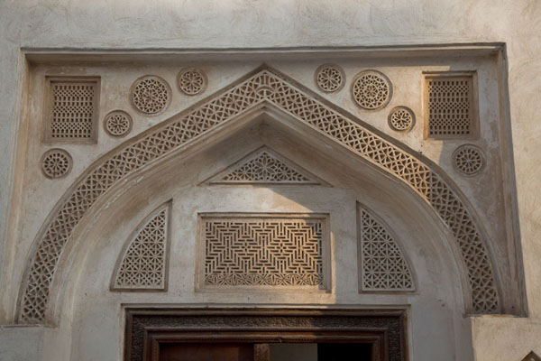 Close-up of the decorated doorway of Bait Sheikh Isa Bin | Bait Sheikh Isa bin Ali | Bahrain