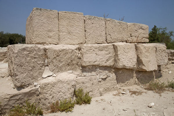 Picture of Big blocks of limestone form one of the walls of the ruins of Barbar temple
