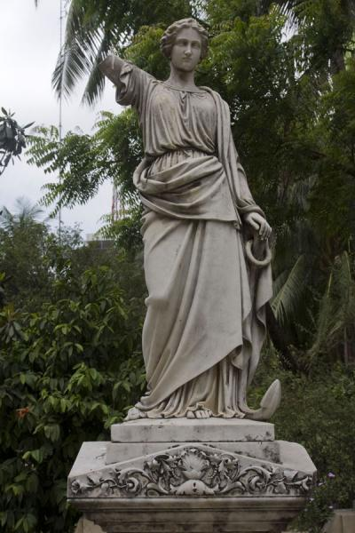 Statue on a tomb in the small cemetery of the Armenian church | Armenian Church | Bangladesh