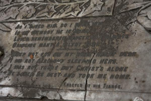 Dedication on tombstone by lover of the deceased | Armenian Church | Bangladesh