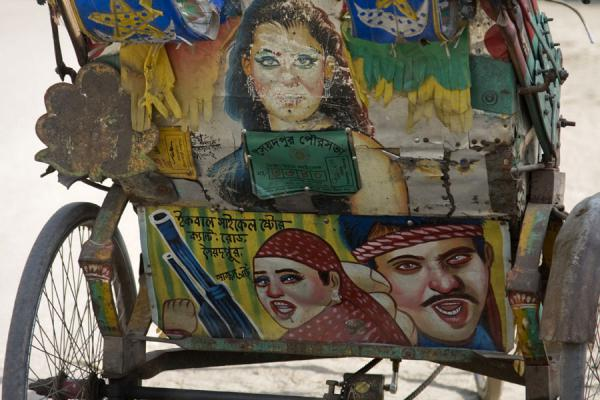 Picture of Movie scenes on the back of a rickshaw in Saidpur - Bangladesh - Asia