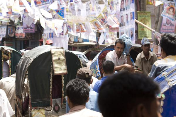 Picture of Rickshaw chaos in the narrow streets of Old Dhaka