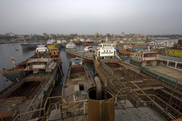 Overview of part of the shipyard of Dhaka on the river Buriganga | Dhaka Shipyard | Bangladesh