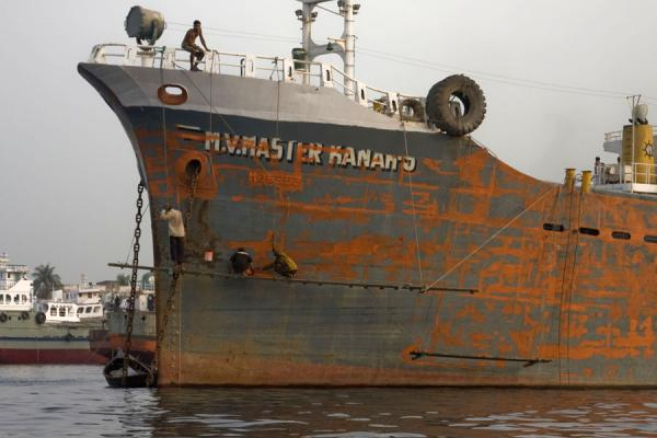 Picture of Dhaka Shipyard (Bangladesh): Ship under repair in the river Buriganga at Dhaka