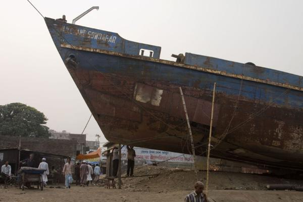 Workers and a ship in the shipyard of Dhaka | Dhaka Shipyard | Bangladesh