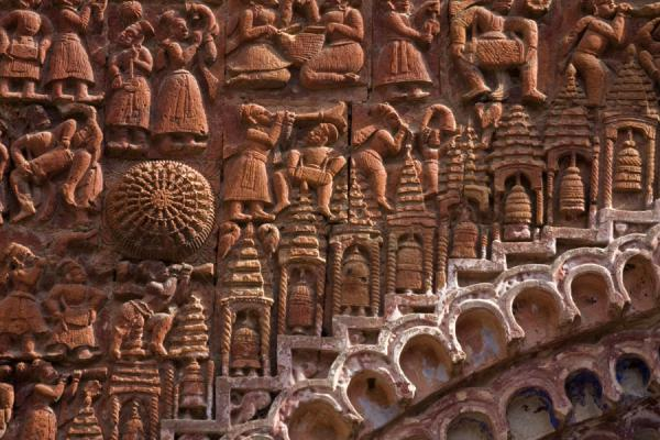 Detail of the dazzling decorative sculpted wall of Kantanagar temple | Kantanagar temple | Bangladesh