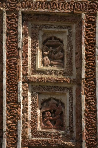 Picture of Kantanagar temple (Bangladesh): Two of the many scenes of Kantanagar temple