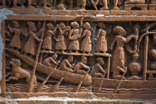 Part of a scene with a boat in Kantanagar temple | Kantanagar temple | Bangladesh