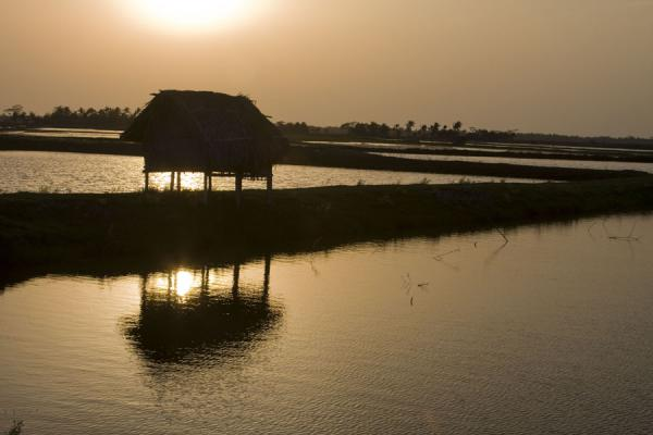 Picture of Khulna water landscape (Bangladesh): Sun setting over typical landscape with house on a strip of land