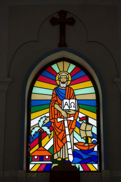 Picture of St Paul Church (Bangladesh): Modern version of a stained glass window in St Paul church