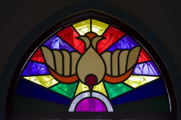 Picture of Bird in stained glass inside St Paul Church
