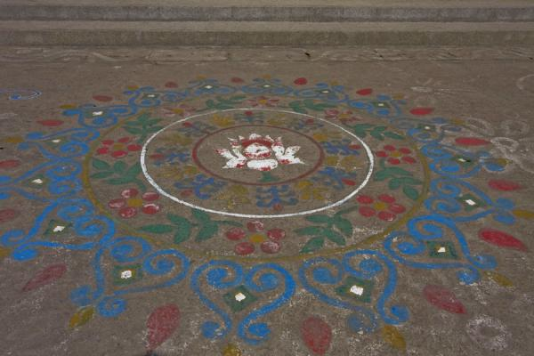 Picture of St Paul Church (Bangladesh): Colourful painting on the floor