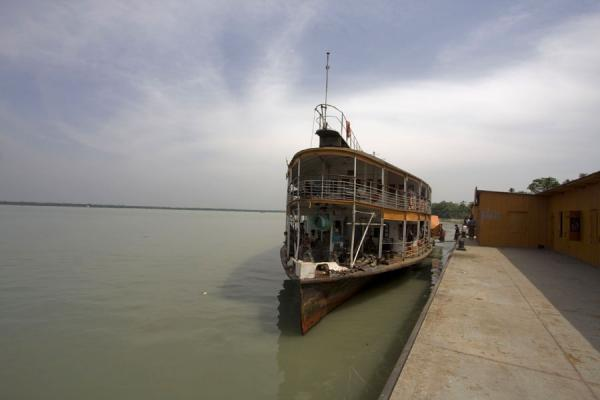 Rocket docked at one of the stops on the long ride to Dhaka | Rocket boat ride | Bangladesh