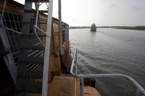 Looking ahead from the stairs on the side of the Rocket | Rocket boat ride | Bangladesh