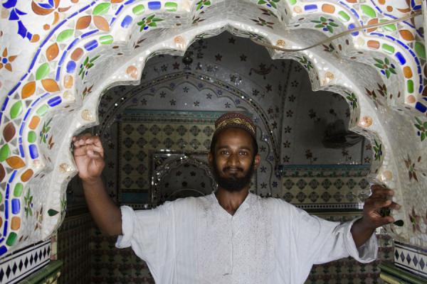 Friendly moslim proudly showing his Sitara mosque | Sitara mosque | Bangladesh