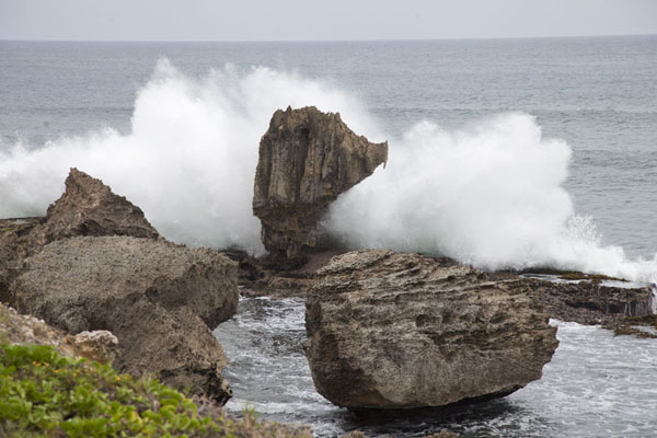 Foto van Wave crashing on rocks on the east coast of BarbadosBarbados oostkust - Barbados