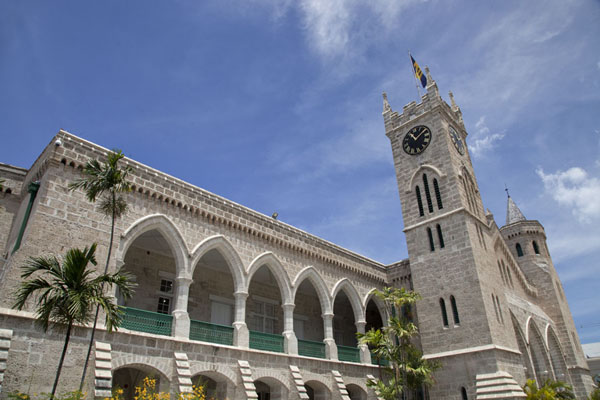 The west wing of the Parliament Buildings with clock tower housing public offices | Bridgetown | Barbade