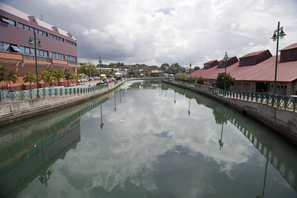 Picture of Constitution River in Bridgetown with the bus terminal on the rightBridgetown - Barbados