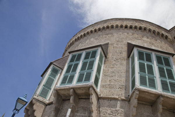 Picture of Looking up one of the round towers of the Parliament BuildingsBridgetown - Barbados