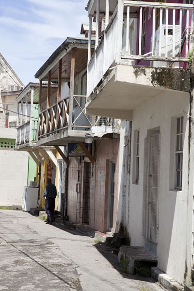Picture of The old part of Bridgetown has some small alleys with houses with balconies - Barbados - Americas