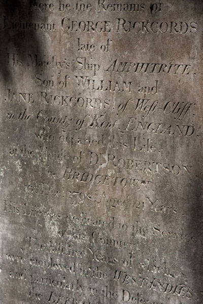 Picture of One of the old tombstones at the cemetery of St Michael's Cathedral in Bridgetown - Barbados - Americas