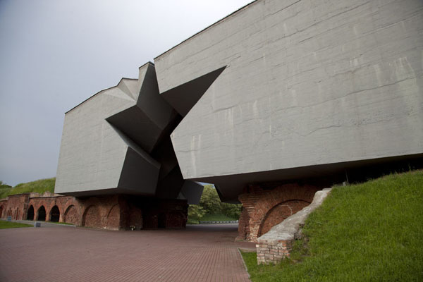 Picture of The entrance to Brest fortress is through an opening in the ramparts, topped by a gigantic starBrest - Belarus
