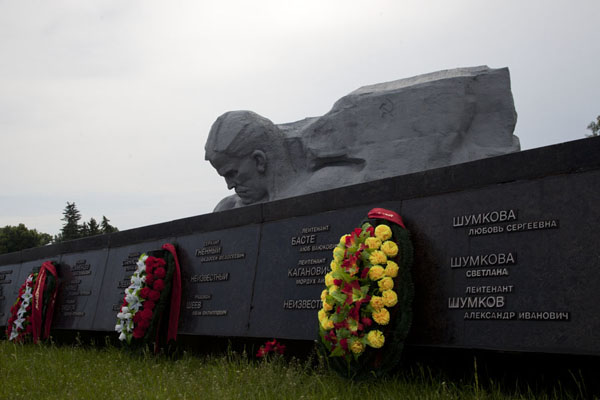Picture of Names of soldiers who perished in the fortress with the main monument above itBrest - Belarus