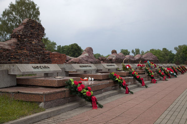Picture of Row of Hero Cities in the Soviet Union with flowersBrest - Belarus