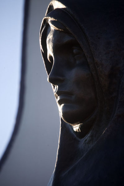 Close-up of one of the women sculpted around the chapel | Island of Tears | Belarus