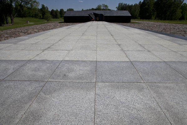 The roof of the shed where the villagers were butchered is marked by this black monument | Khatyn | Belarus