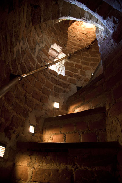 Picture of The stone stairs inside Mir castle are steep and the steps are high