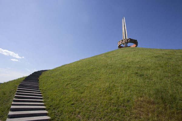 Stairs lead up to the monument | Mount of Glory | Belarus