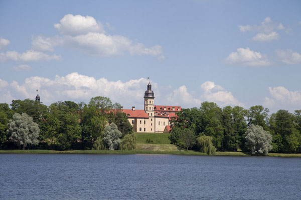 Picture of Distant view of the palace of Njasvizh with lake in the foreground