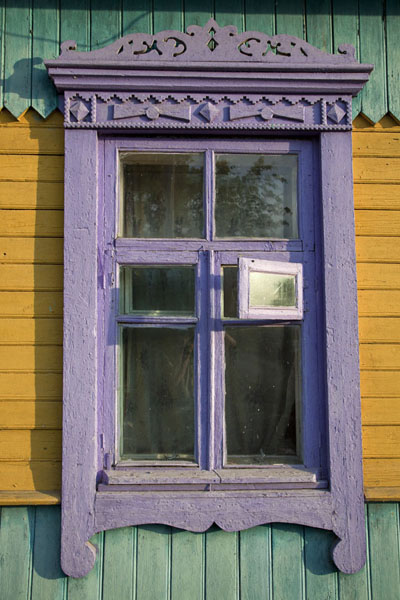 Picture of Colourfully painted wooden house on the banks of the river DvinaPolatsk - Belarus
