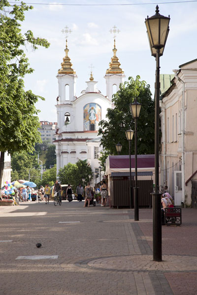 Street in Vitebsk with the church of the Resurrection in the background | Vitebsk | Belarus