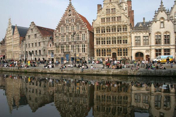 Some of the houses of the Graslei canal in historical Ghent | Ghent | Belgium