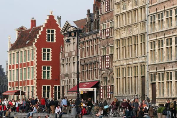 Picture of Ghent (Belgium): Close-up of Graslei houses in historical Ghent