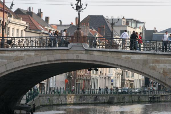 Picture of Ghent (Belgium): Grasbrug and Predikherenlei in historical Ghent