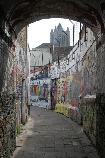 Picture of Belltower and graffiti in GhentGhent - Belgium