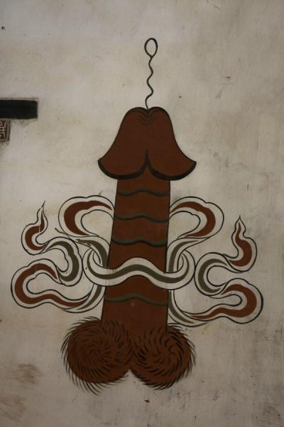 Phallus with sperm coming out on wall | Bhutan phallic symbols | Bhutan