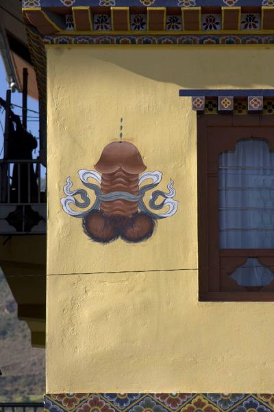 Picture of Bhutan phallic symbols (Bhutan): Phallic symbol painted on a house in Paro