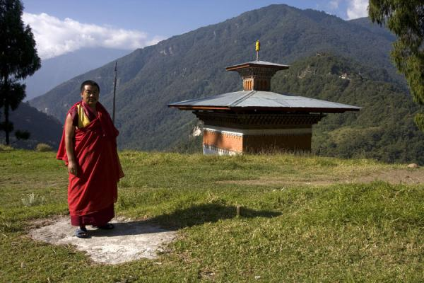 Bhutanese monk at Trongsa Dzong | Bhutanese monks | Bhutan