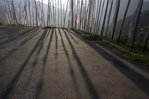 Picture of Bhutanese prayer flags (Bhutan): Early morning shadows of prayer flags