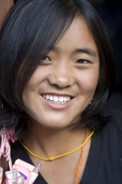 Charming girl in a shop in Wangdue Phodrang | Bhutanese women | Bhutan