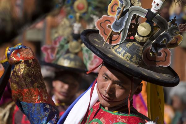 Monk with black hat in the Black Hat dance | Bumthang Tsechu | Bhutan