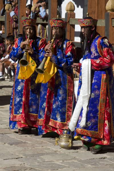 Picture of Traditionally dressed monks in a ritual performance of music