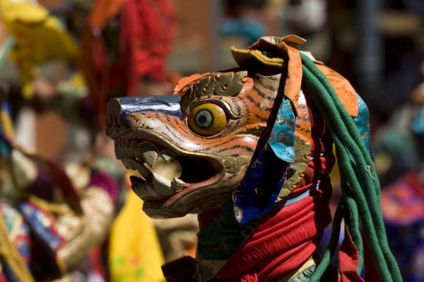 Picture of Brightly painted animal mask used in a mask dance
