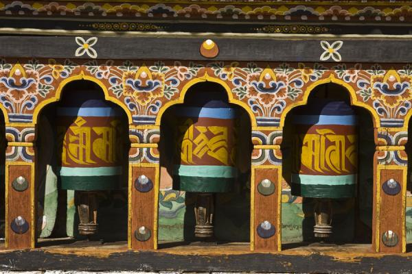 Picture of Cheri Monastery (Bhutan): Three of the many prayer wheels of Cheri Monastery