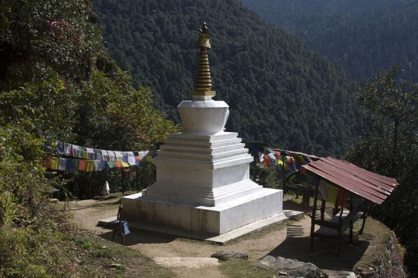 Chorten halfway up the hill to Cheri Monastery | Cheri Monastery | Bhutan